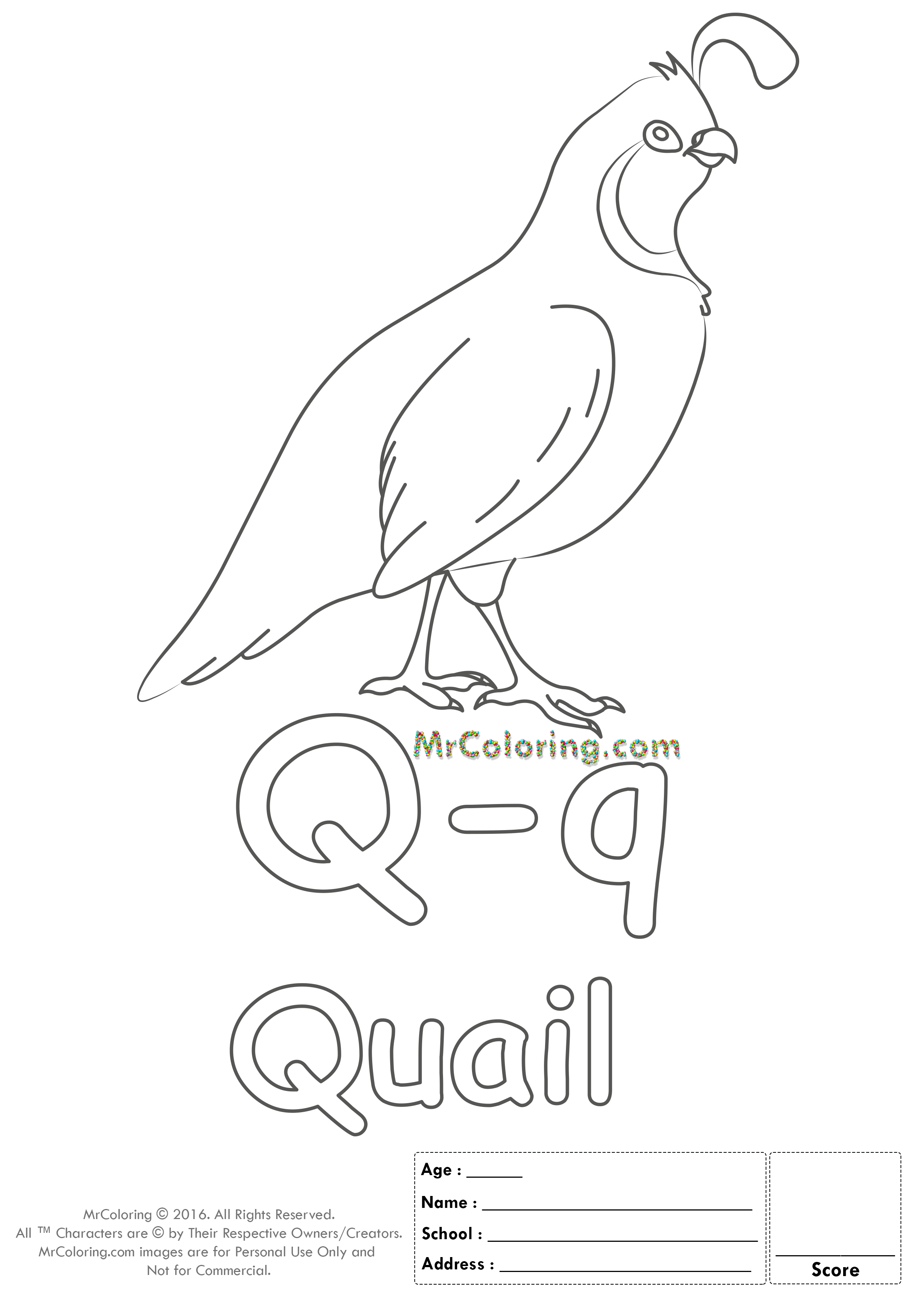 Alphabet Letter Qq Printable Coloring Pages Coloring WorkSheets ...