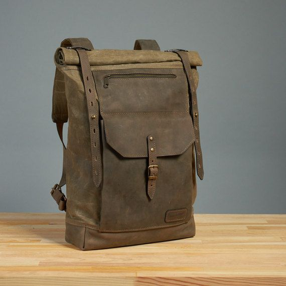 Olive green waxed canvas backpack. Waxed canvas leather backpack. Brown leather  backpack rucksack. Waxed canvas bag. bf0a812828