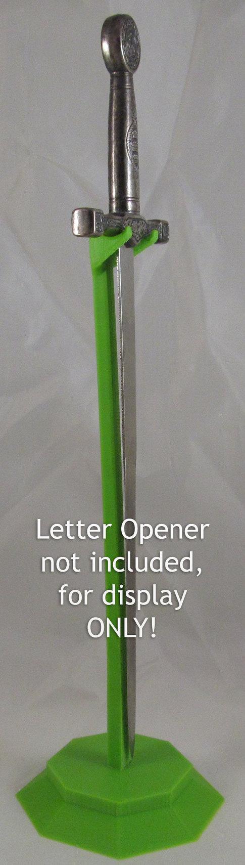 3D Printed Dagger Stiletto Letter Opener Sword Desk Shelf Display Hanger Stand Green
