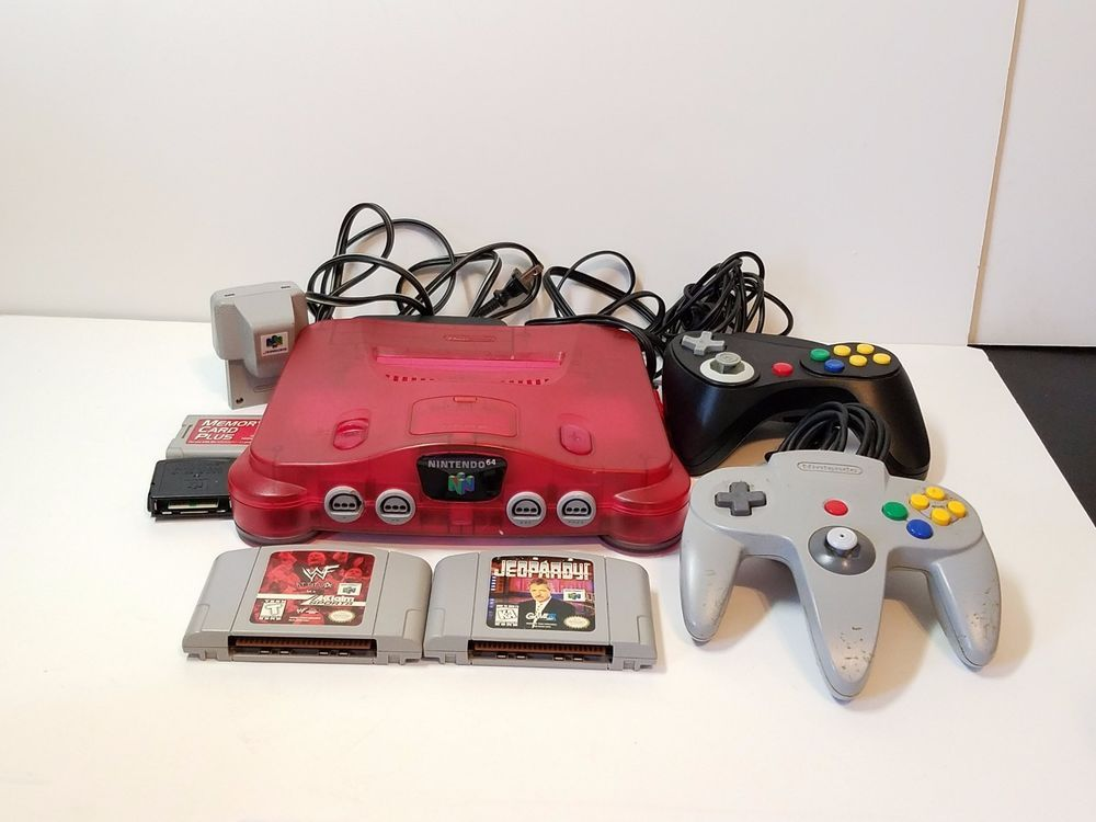 Nintendo 64 N64 Video Game Console System Controllers Jumper Memory Card Red Ram
