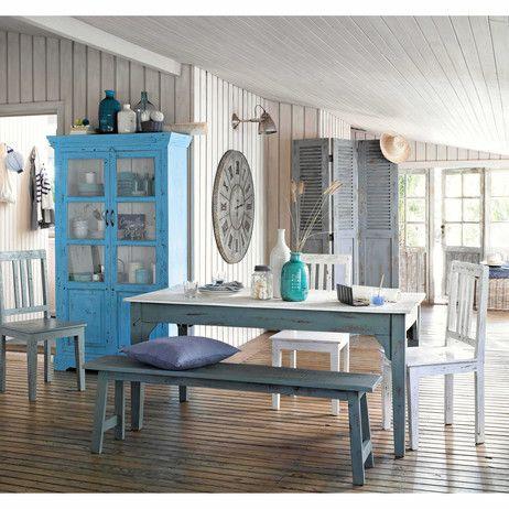 Banco De Mango Azul Gris Efecto Envejecido An 150 Avignon Maisons Du Monde Condo Living Room Home Home Decor