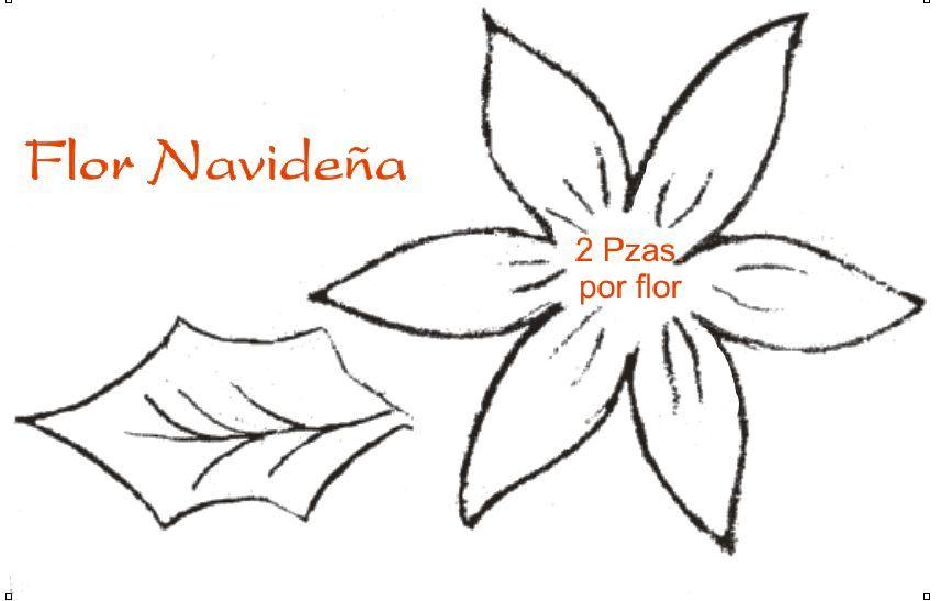 moldes de fomi para navidad flores yonaimi | Molde de flores ...