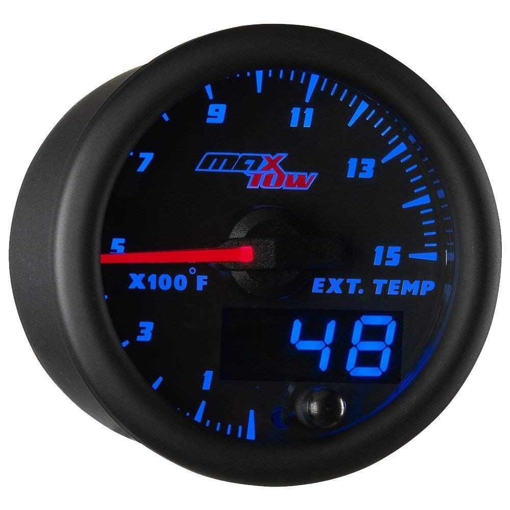 2-1//16 52mm White Gauge Face Blue LED Illuminated Dial MaxTow Double Vision 60 PSI Turbo Boost Gauge Kit for Diesel Trucks Analog /& Digital Readouts Includes Electronic Pressure Sensor