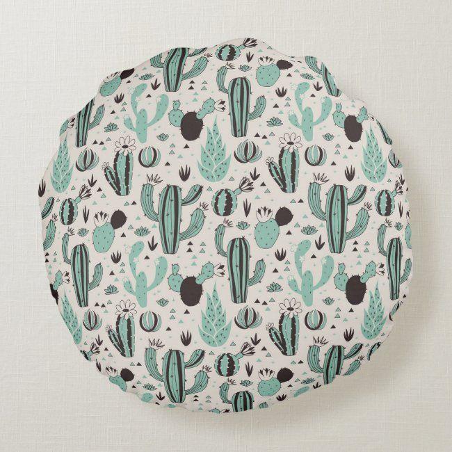 Cacti Round Pillow