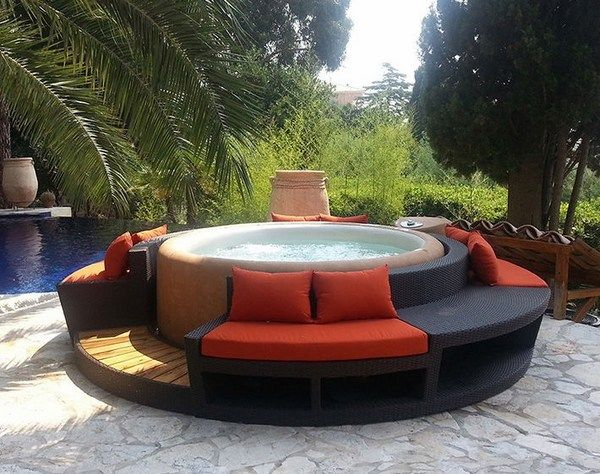 Modern patio ideas softub portable hot tub seating area for Garden pool from bathtub