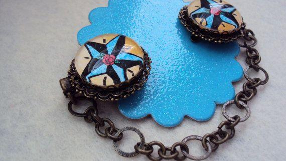 Sweater clip Rockabilly star antique bronze color 25 by SEVN7SEVN, $11.50