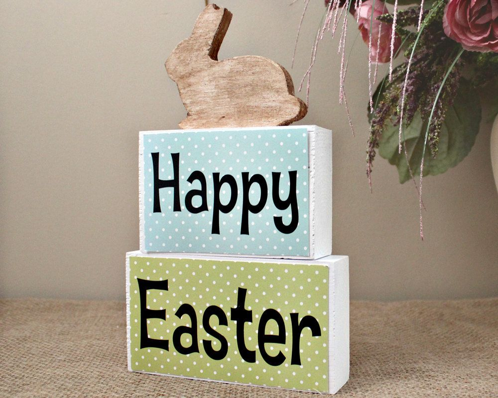Easter decor sign happy easter wood blocks easter decoration happy easter wood blocks easter decoration easter home decor blocks easter mantle centerpiece easter hostess gift easter bunny negle