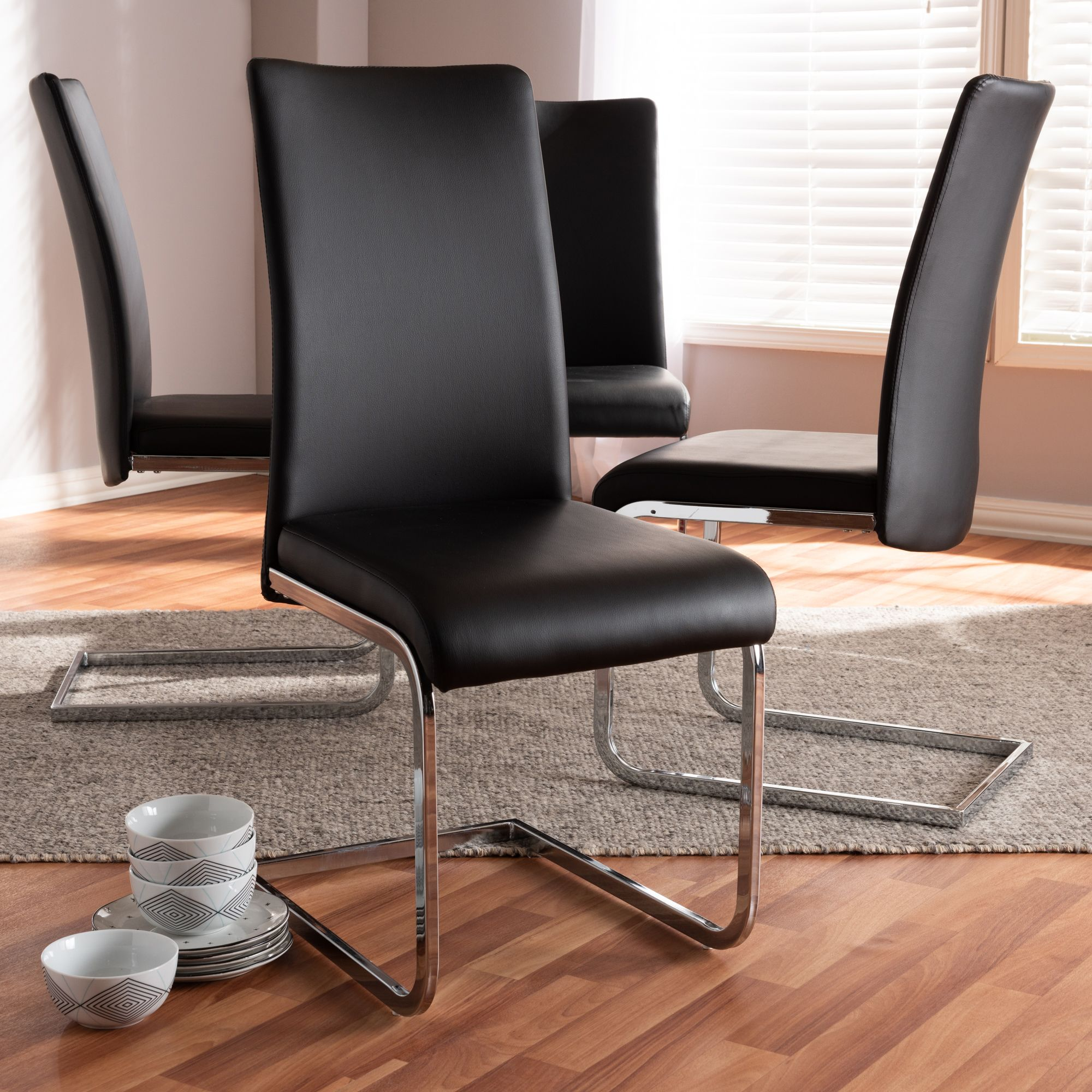 Baxton studio cyprien modern and contemporary black faux