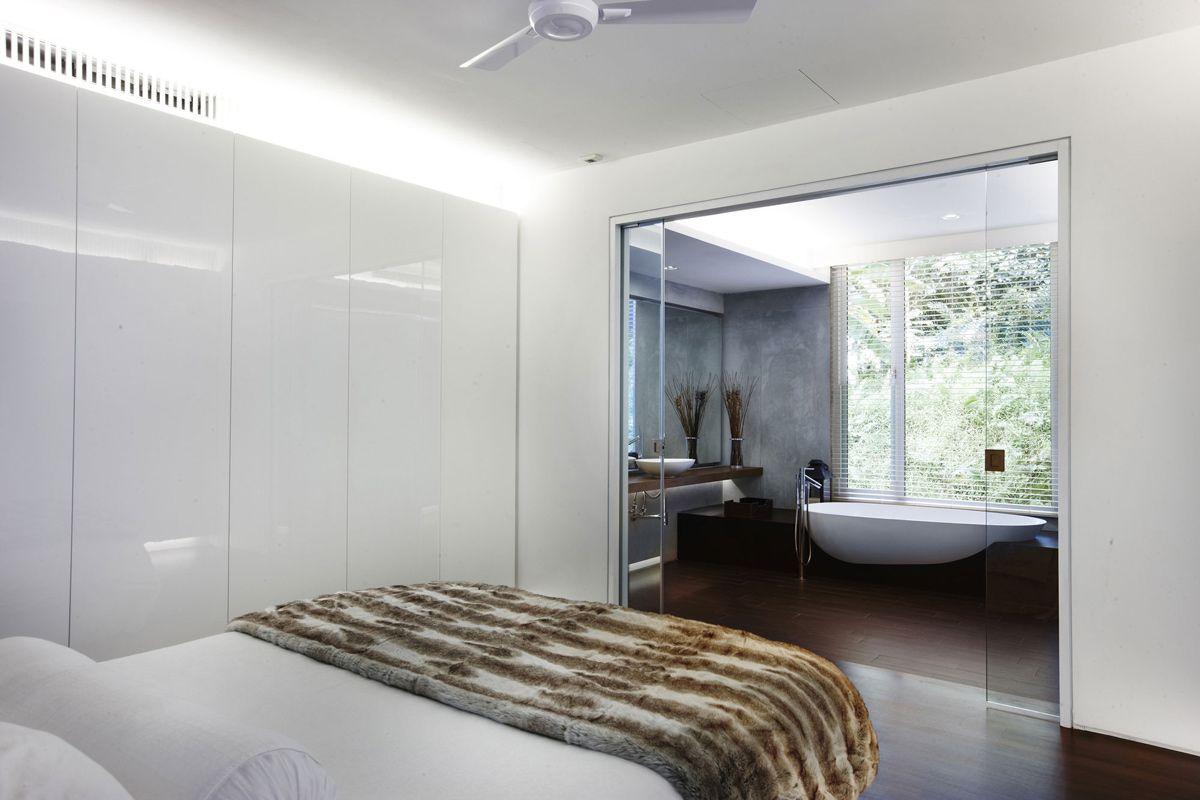 Bedroom, Glass Doors, Bathroom, Shop House Renovation in Singapore ...