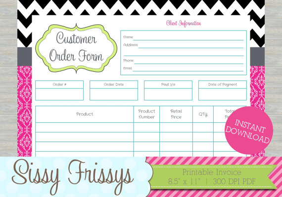 INSTANT DOWNLOAD - Printable Business Customer Invoice - Business - order invoices online