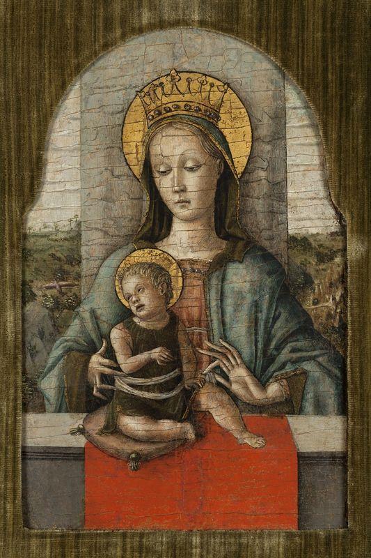 Carlo Crivelli, Madonna and Child, circa 1460. Tempera and gold on wood, 32 x 22,2 cm. Vittorio Cini Collection. Foto: Fondazione Giorgio Cini
