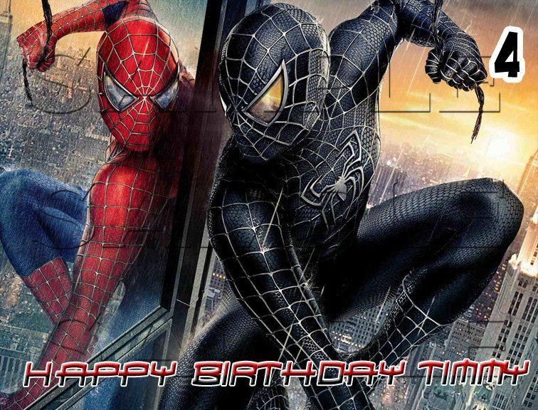5 Spiderman Edible Cake Toppers Schwarzer Spiderman Superhelden Filme Comic Superhelden