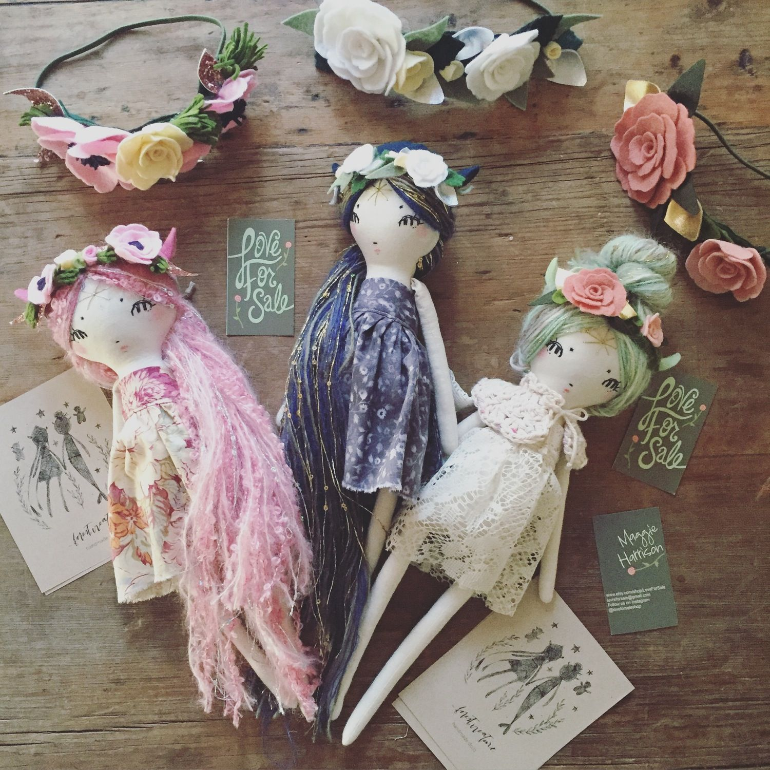 Image Of Navy Blue Pixie Doll Love For Sale Flower Crown Dolls