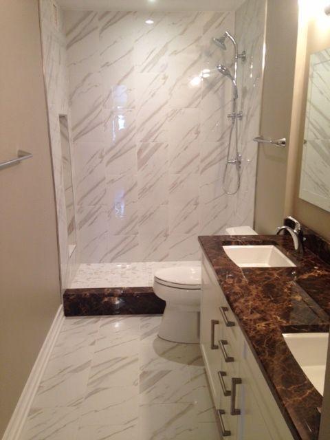Downtown Chicago Bathroom Remodel   Marble Look Porcelain Tile 12x24,  Emperador Dark Marble Countertop
