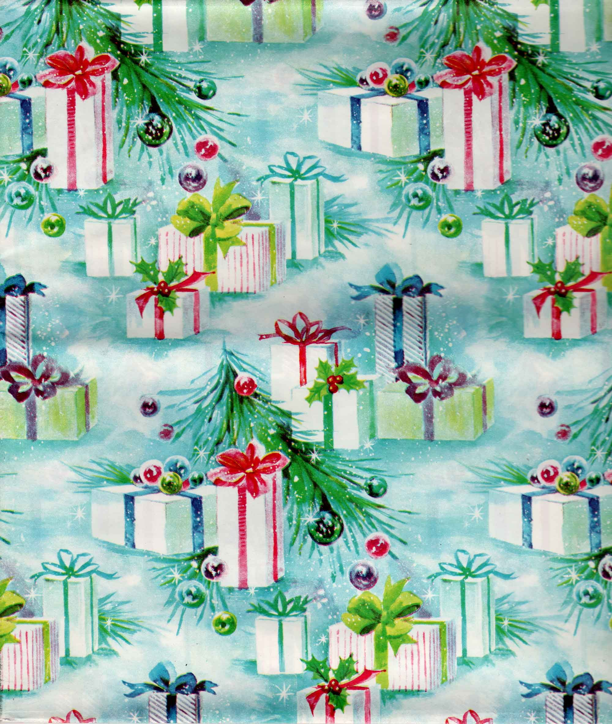 mid century gift wrap Christmas paper, Vintage christmas