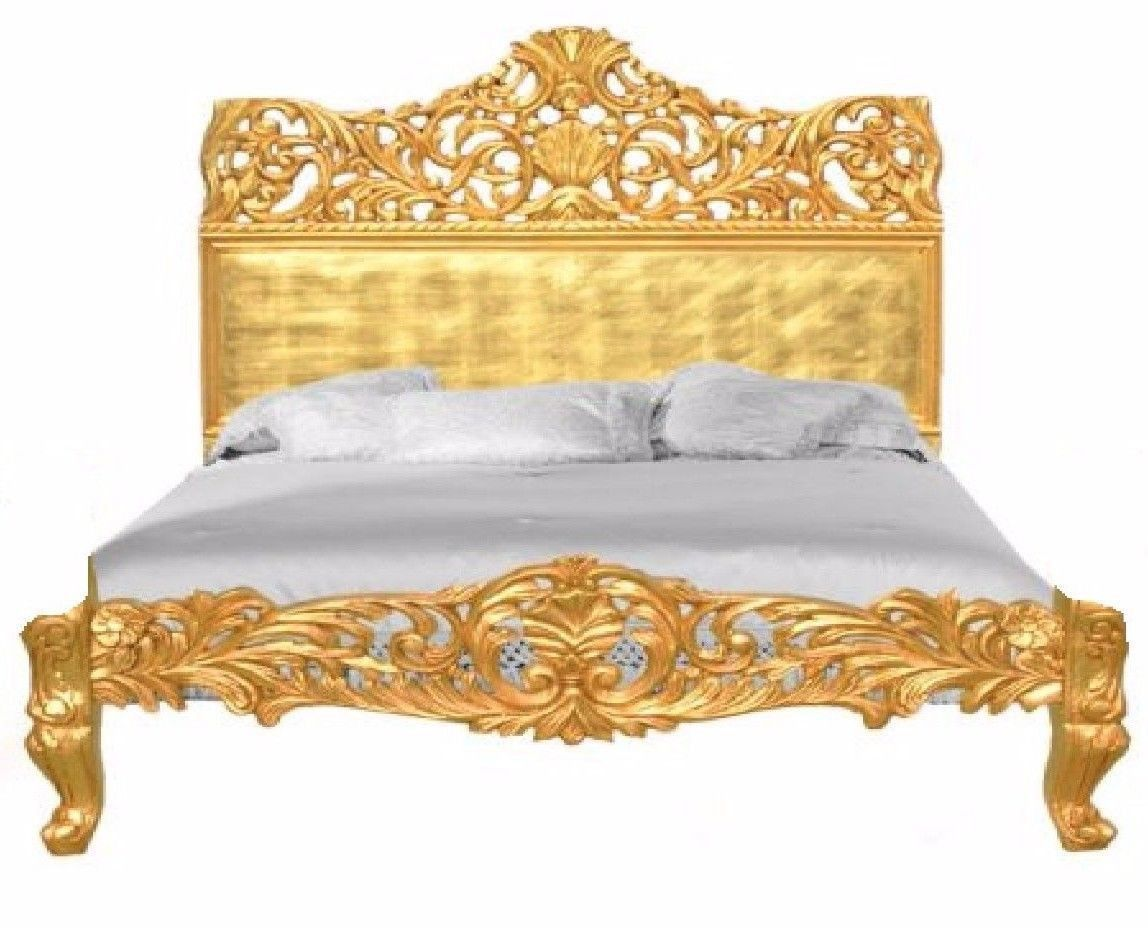 French Baroque Carved Bed King Size Rococo Gold Leaf Made In Usa