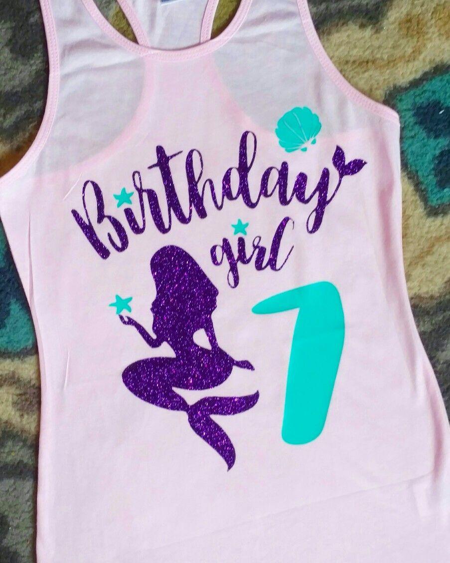 6338ed1f2a9d Mermaid birthday shirt | Craft ideas in 2019 | Disney birthday shirt ...