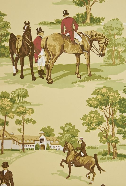 Nice Equestrian Wallpaper Buttermilk Wallpaper With Illustrated Hunting Scenes  In Greens And Reds. £68.94 Per Roll