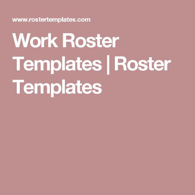 work rosters templates free