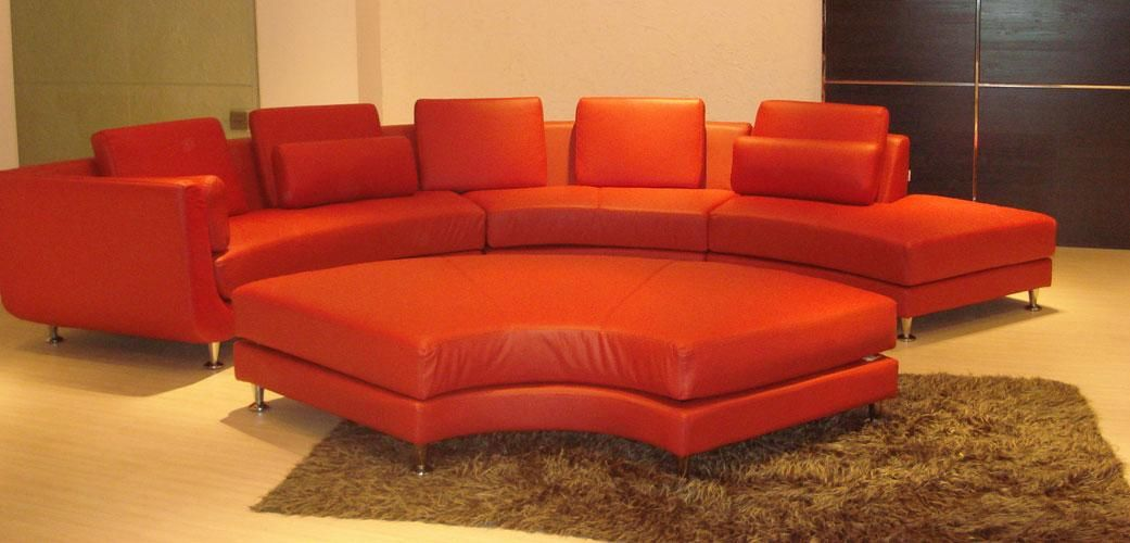 Curved red leather sectional sofa by true contemporary for Cheap red leather sectional sofa