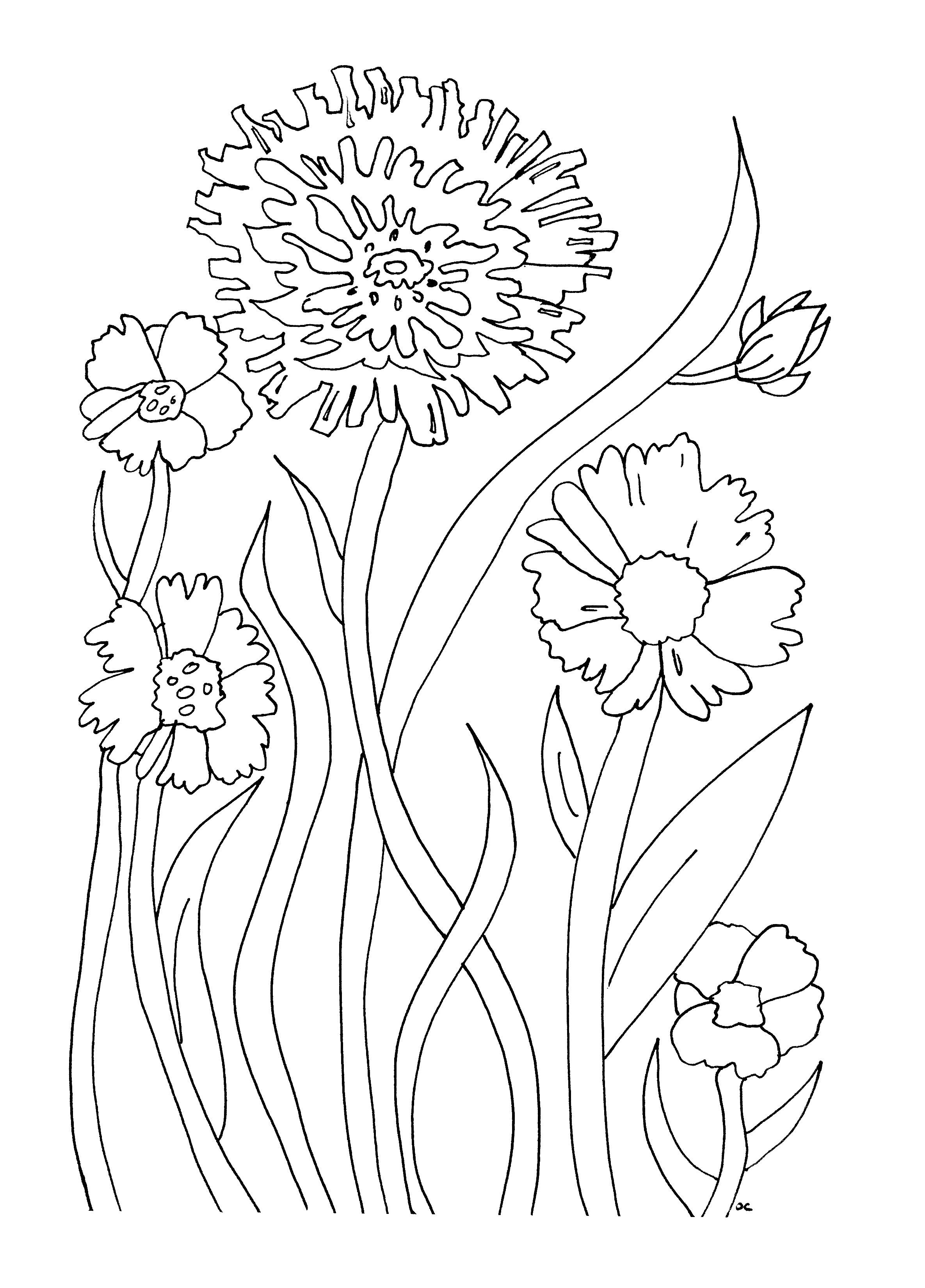 Flowers And Vegetation Coloring Pages For Adults Coloring Simple Flowers Printable Flower Coloring Pages Flower Coloring Pages Easy Coloring Pages