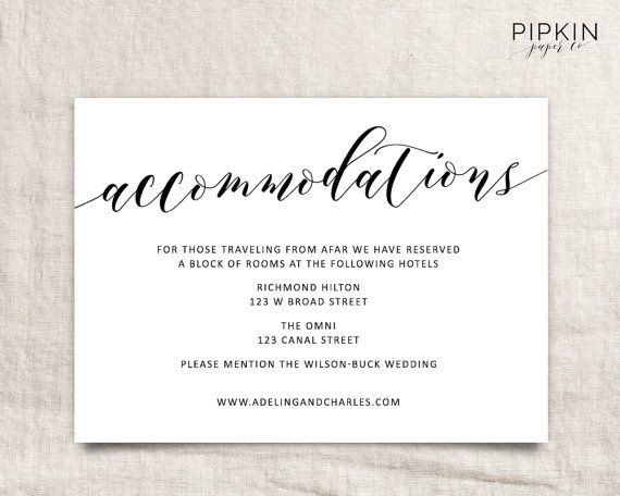 Wedding Accommodations Template Printable Accommodations Card