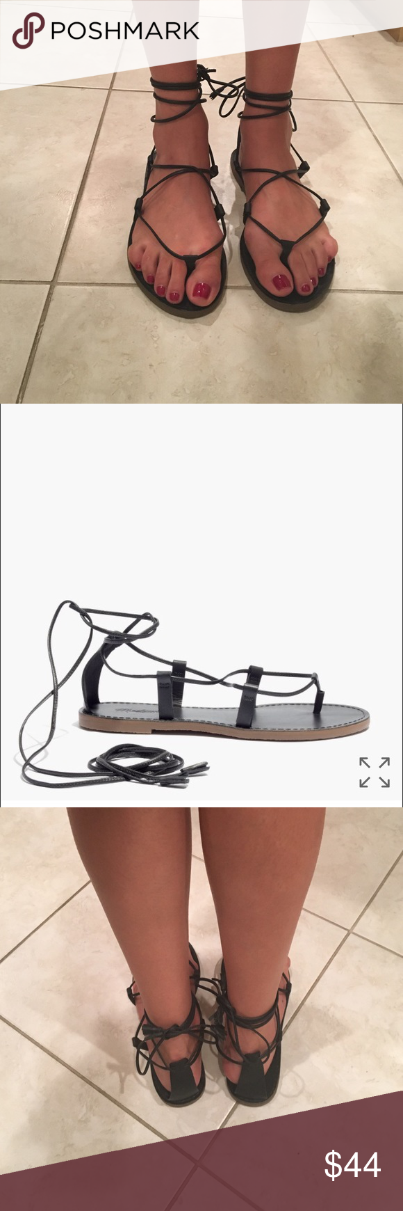514ccd3351f Madewell Boardwalk lace-up sandal black size 8 Worn 3 times Madewell Shoes  Sandals