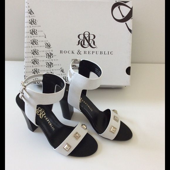 Rock & Republic Heels NIB Feminine & edgy white ankle strap heels with silver toned embellishment on the foot strap. Adjustable buckles on the ankle strap. 4.5 inch heel. White with a crackle effect best seen in the third photo. These make an amazing outfit with the white dress listed in my closet. Bundle discounts. NIB. The box has a tear on one side of the lid. Rock & Republic Shoes Heels
