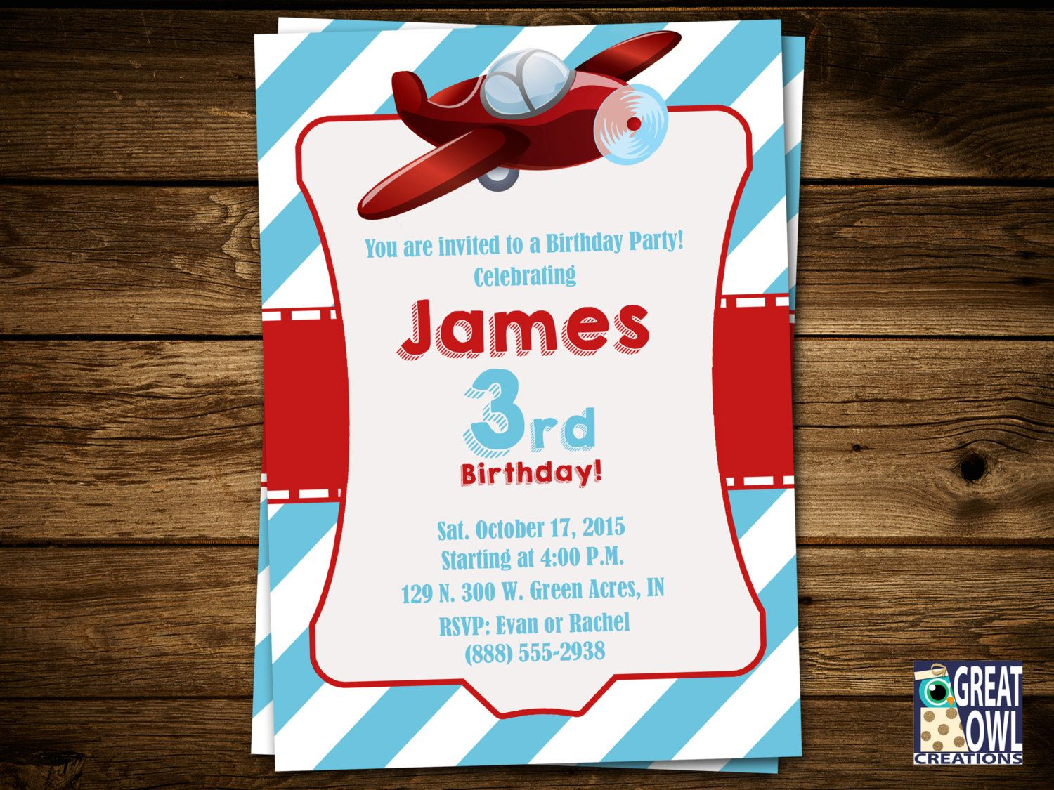 Planes Birthday Invitations, Airplane Invitations, Planes ...