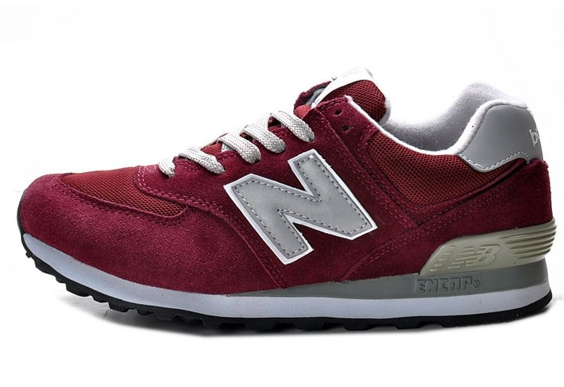 new balance 574 classic burgundy suede running trainers
