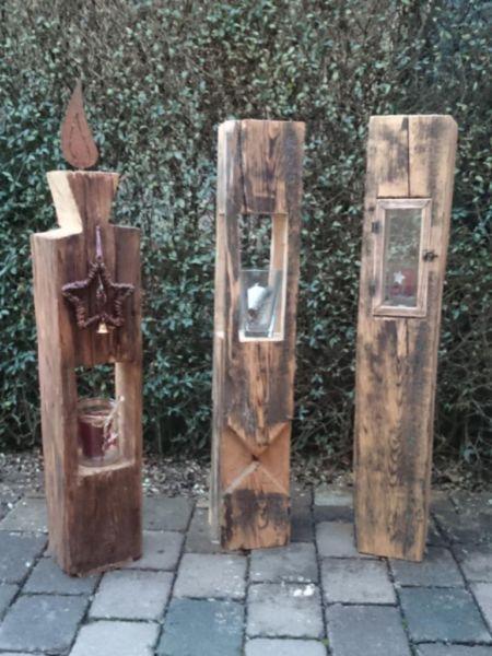 Holzlaterne aus alten Holzbalken - Weihnachtsgeschenk in Bayern