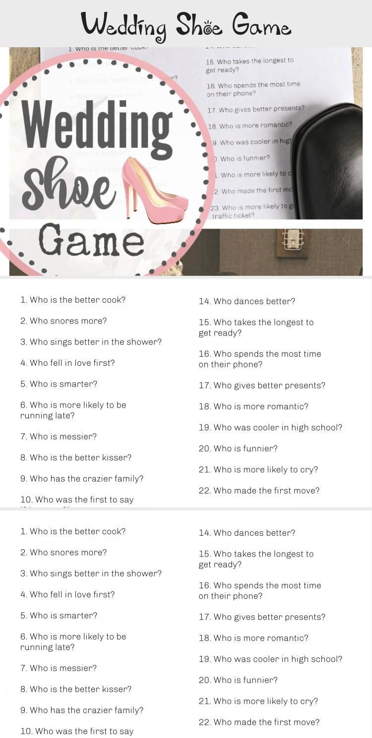 Wedding Shoe Game Printable with Questions to Ask