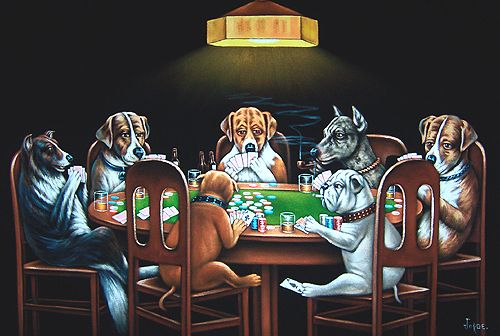 Modern Animal Painting Home Decor Canvas Art Dogs Playing Poker A Friend in Bar