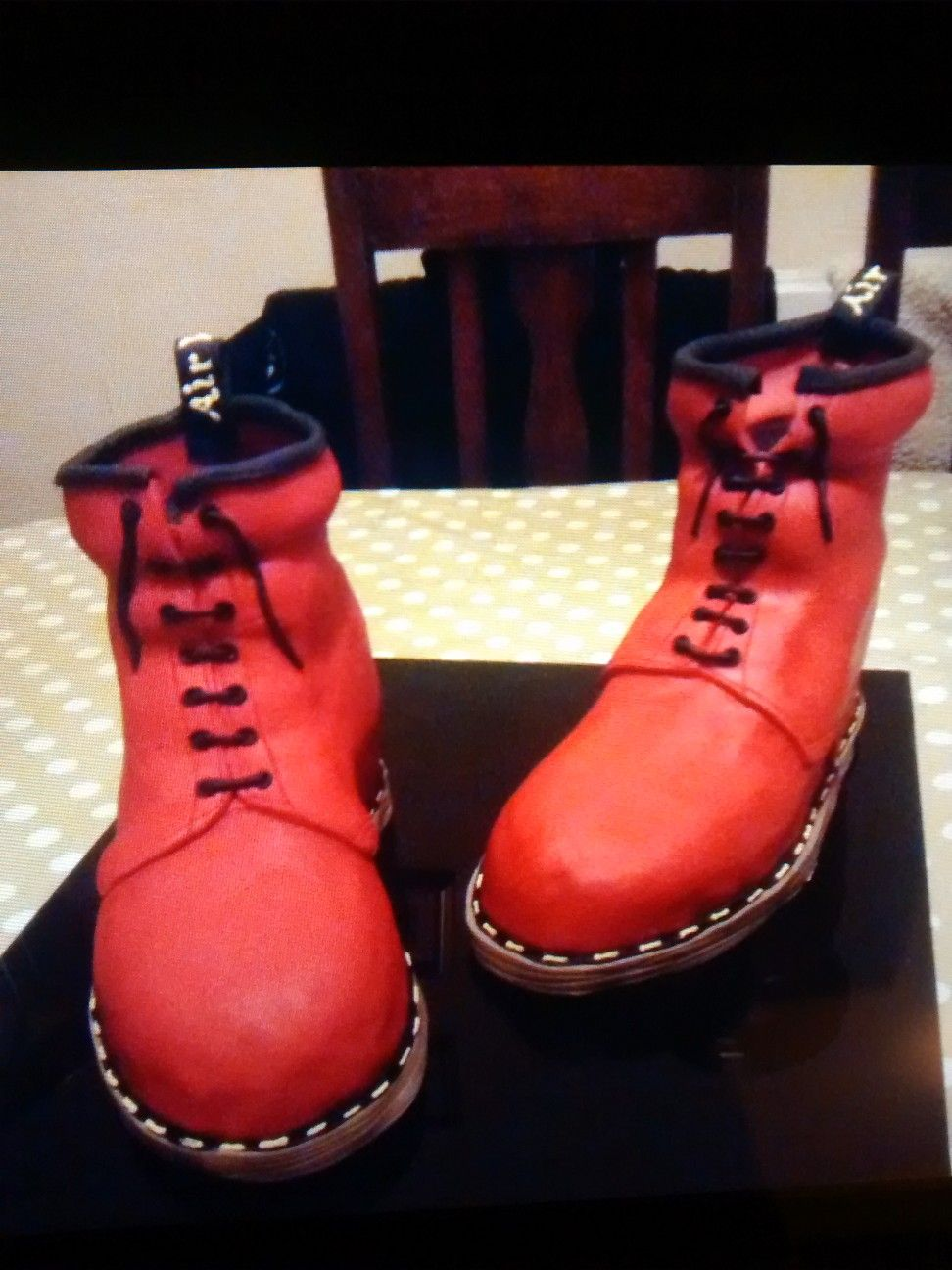 Cherry red dr martens cake boot cake boots combat