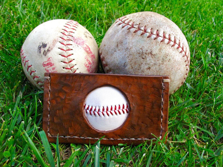 baseball business card holder, Repurposed LEATHER baseball , Gift ...