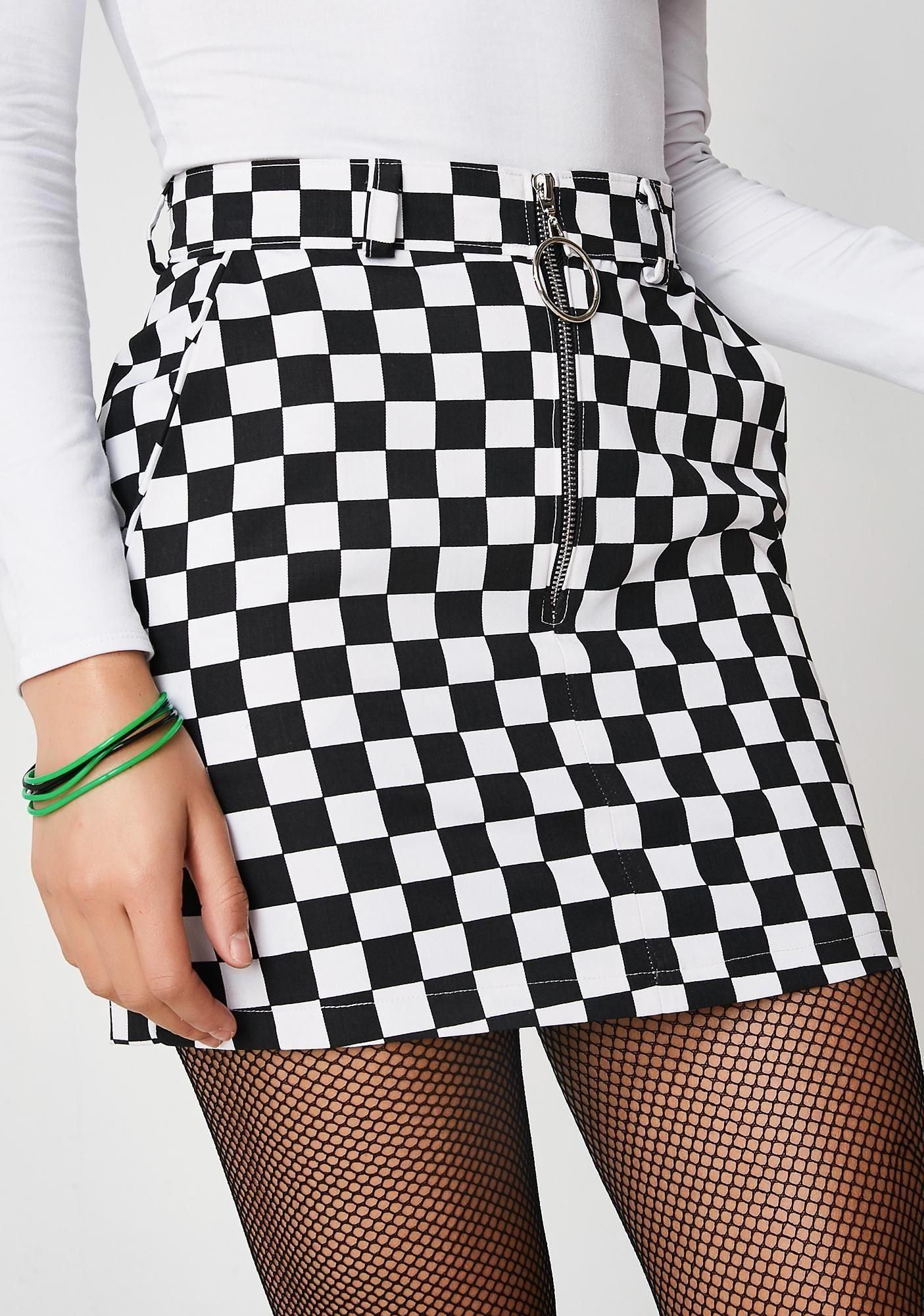 Checkered Skirt Black White Grid With Front Zipper Plaid High Waist Girls Skirts