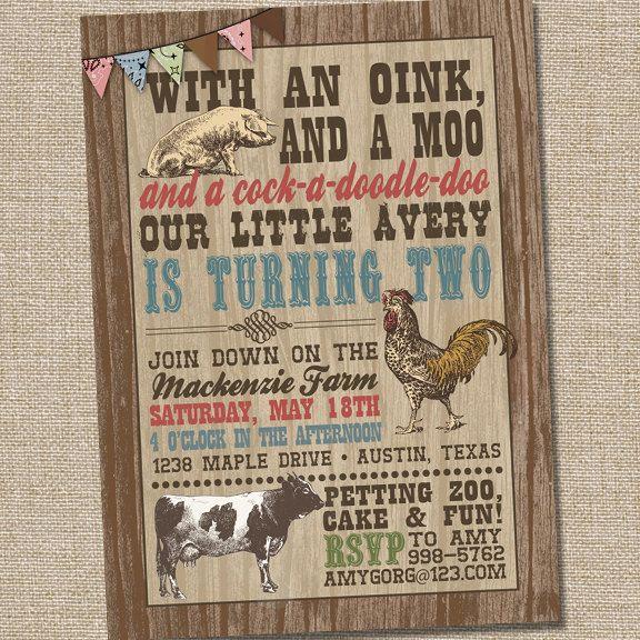 Farm Birthday Invitations Farm Party Invitation Barnyard Party
