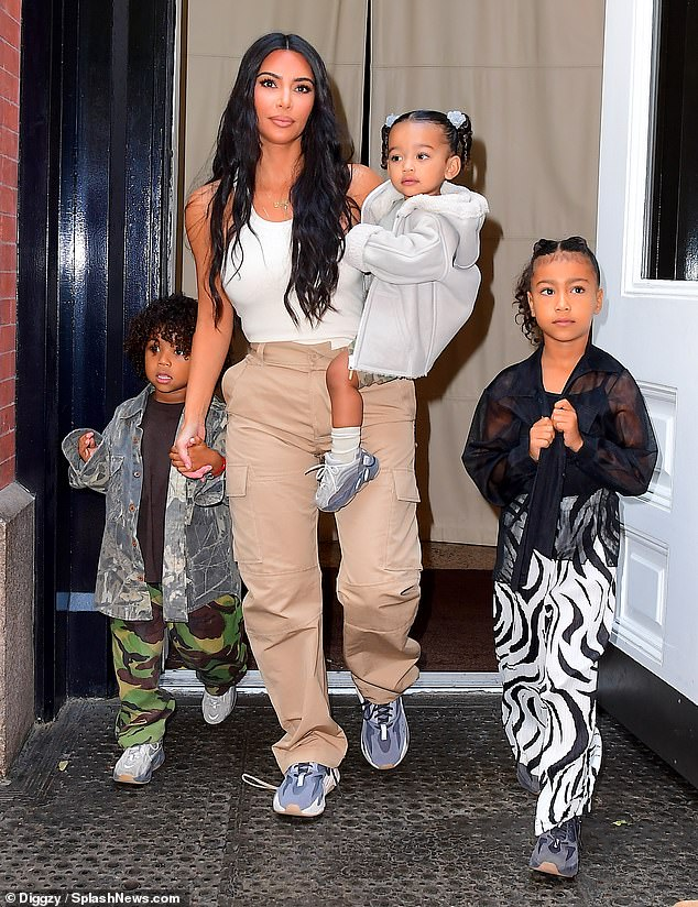 Kim Kardashian Joins Kanye West And Kids North Saint And Chicago Kim Kardashian And Kanye Kardashian Kids Kardashian Style