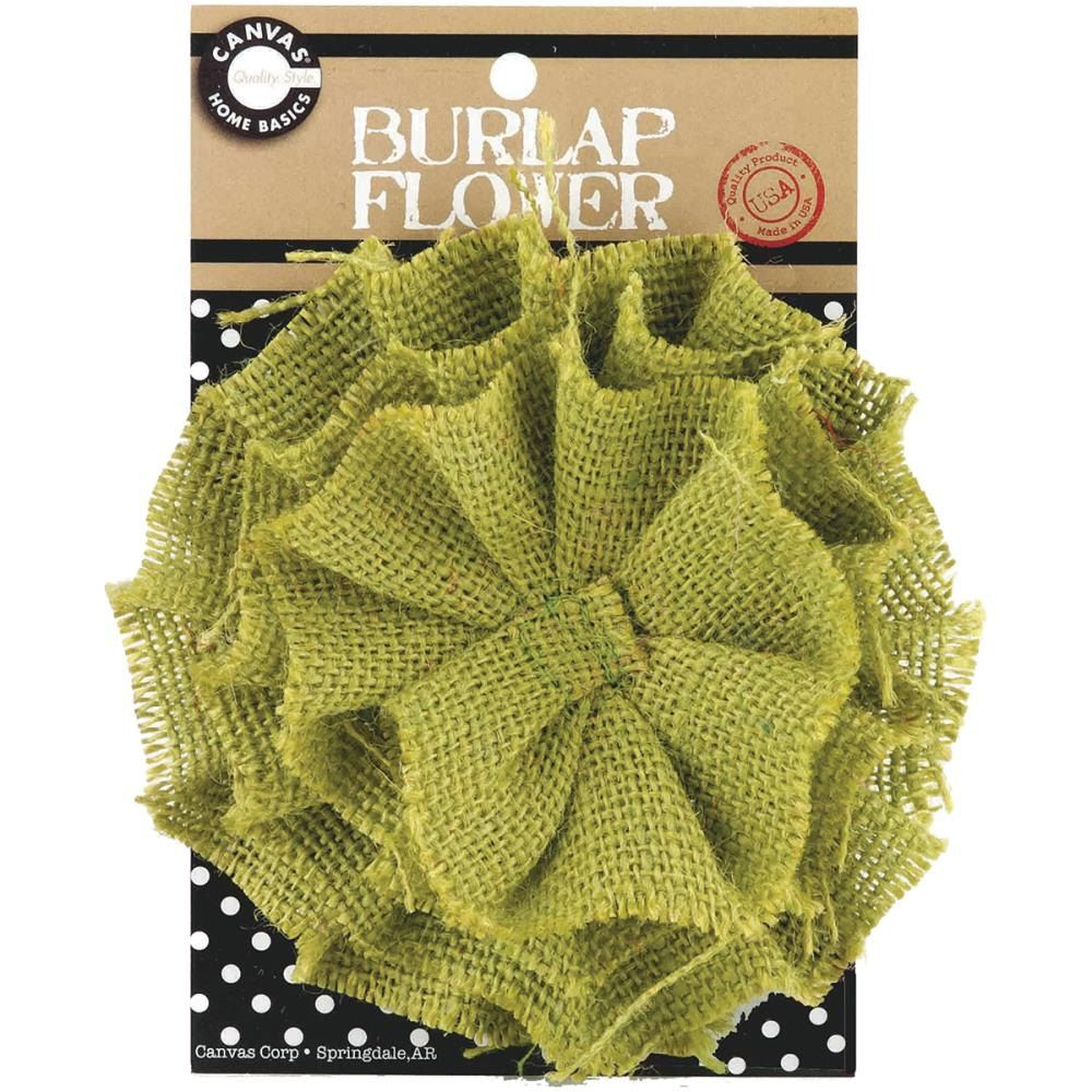 Canvas Corp   Burlap  Flower  Avocado  4 inch  Green, Lime, Olive Cards, Decorations, Center Piece, Bouquets by SeptemberPlayground on Etsy