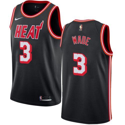 Nike Heat #3 Dwyane Wade Black NBA Swingman Hardwood Classics Jersey