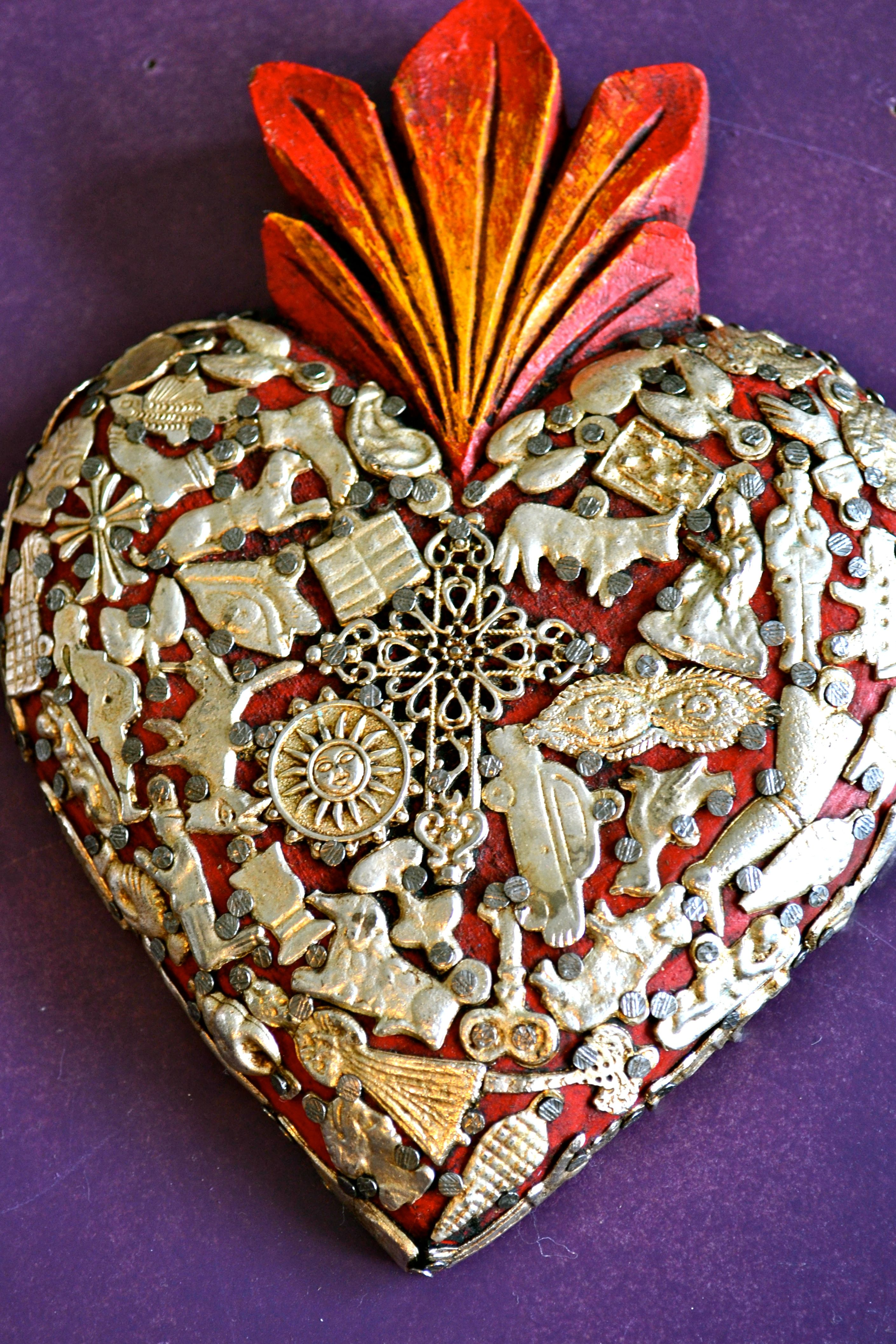 Metal heart ornaments - Mexican Devotional Art The Sacred Heart Mexico Import Arts