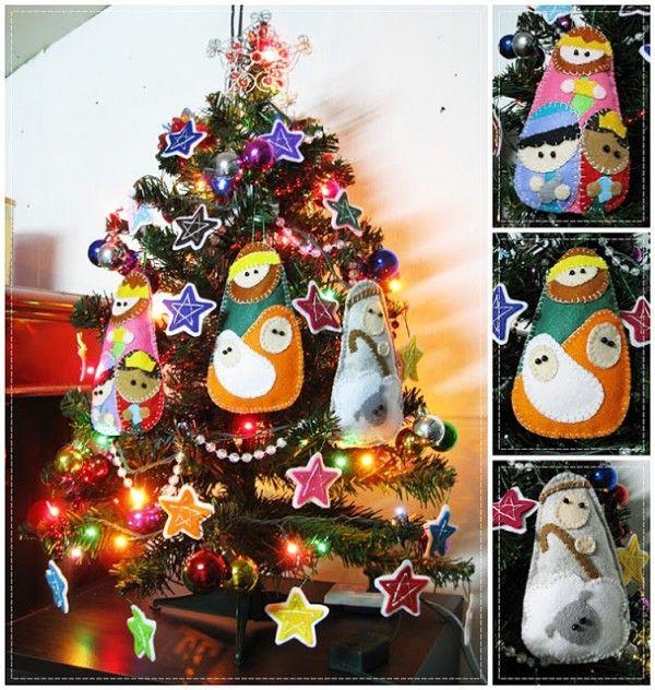 Figuras de fieltro para el rbol de navidad christmas - Arbol de navidad de fieltro ...