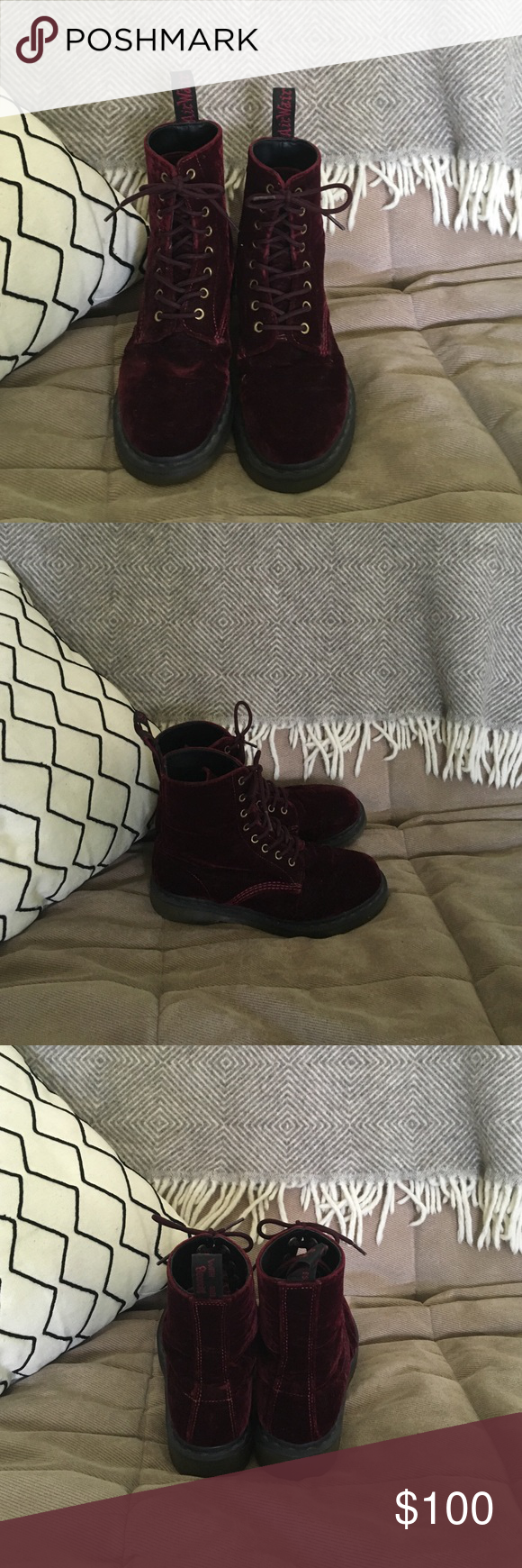 Red Velvet Dr. Martens Red velvet Dr. Martens / worn only a few times / great condition! Dr. Martens Shoes Combat & Moto Boots
