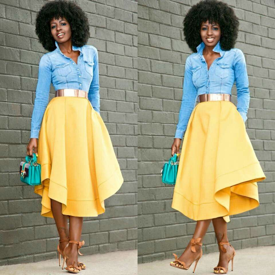Blue Jean collared shirt with yellow flare skirt | Fashion | Pinterest | Flared skirt Collar ...