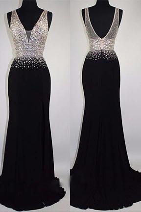 Luxury black chiffon sequins rhinestone Vneck long