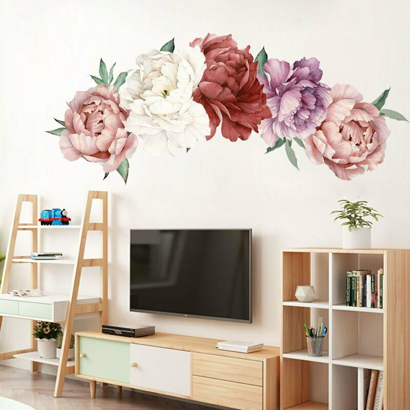 1Pcs Home Removable Plant Flower Wall Sticker Decoration Bedroom Decal