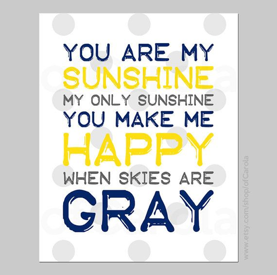You Are My Sunshine My Only Sunshine Quote Print Wall Art ...