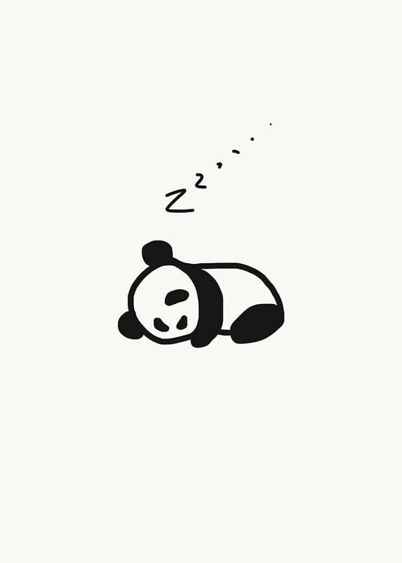 Zzz Baby Panda Sleeping Panda Illustration Nursury Art Wall Art