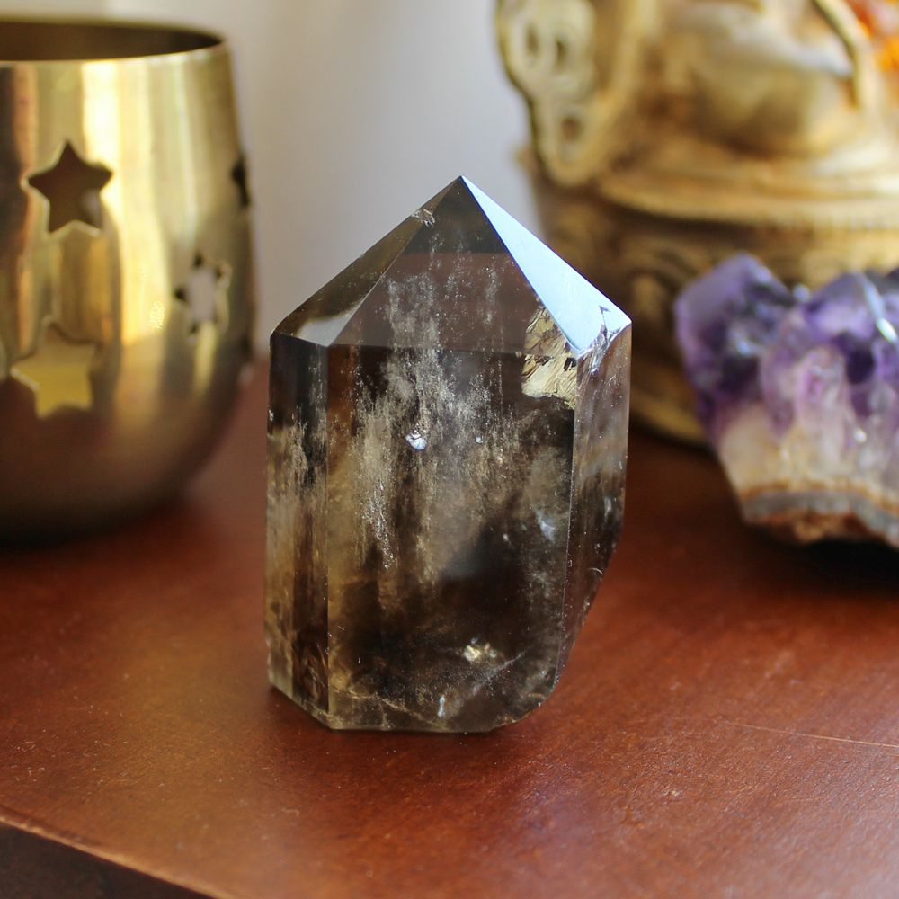 Polished Smoky Quartz Crystal Point. Grounding, protection and absorbs negative energy