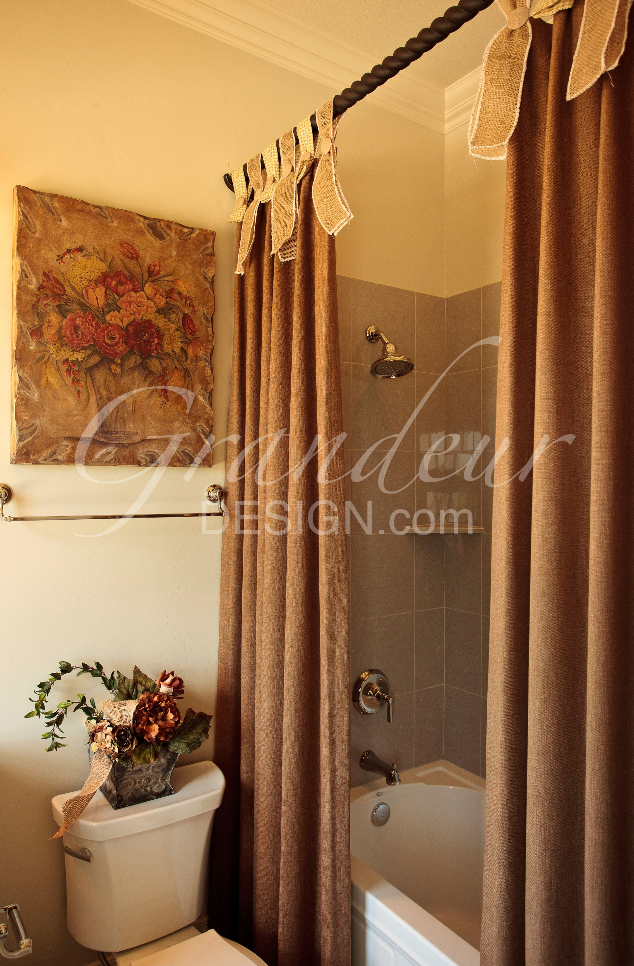 exterior shower curtain adds some nice softness to the bathroom ...
